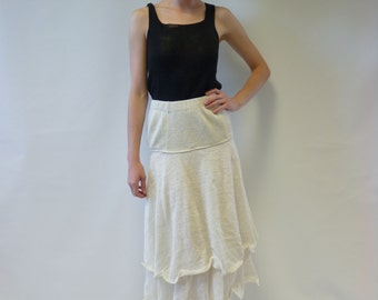 Sale. Off-white linen skirt, S/M size, feminine and romantic look. Wear with simple tops. Handmade, 100% linen.
