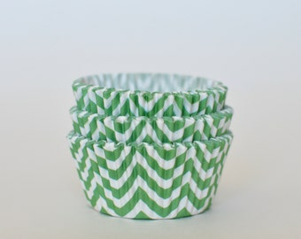 Lime Green Chevron Cupcake Liners // Lime Green Baking Cups (Qty 50)