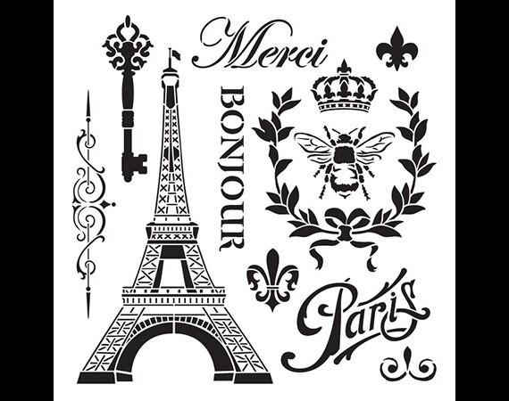 La France Vintage Art Stencil - Select Size - STCL899 - by StudioR12