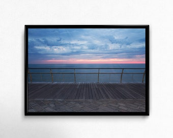 Landscape Photography Dawn Over Sea Stormy Weather Print