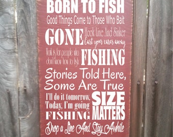 fishing sign, fishing decor, fishing decoration, fisherman gift, fishermen, fishing, fish decor, cabin decor, rustic fishing decor, 204