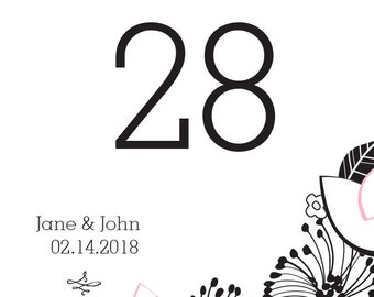 Custom Table Numbers - Personalized Wedding Signage - Floral Fusion Table Numbers - Flower Table Numbers - Party Supplies - Wedding Supply