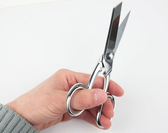 """FRATELLI BARBIERI 7.7"""" , Italy import, leather scissors-silver color, Leather craft tools, MLT- P00000PQ"""