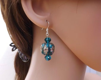 Blue cloisonné earrings, turquoise cloisonné earrings, pretty flower earrings,