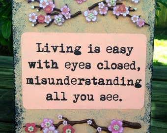 Hippie Gypsy Art Wall Decor ~Living Is Easy With Eyes Closed~ Beatles Quote Mixed Media Art Collage Canvas