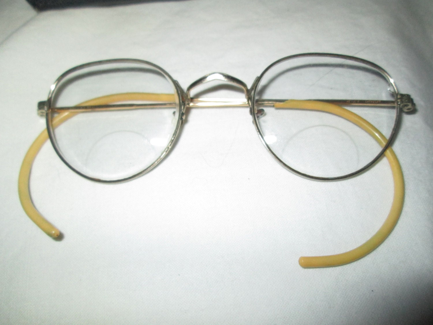 Antique WIRE RIM Glasses in Case YELLOW Ear by ...