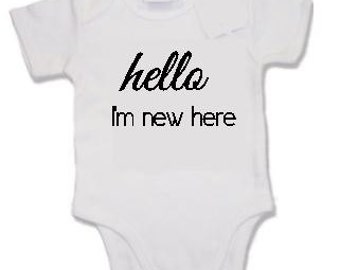 Funny/cute print baby vest - hello I'm new here - baby shower, newborn, it's a boy, it's a girl