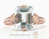 Victorian Revival Emerald Cut Aquamarine Rose Gold Art Deco Promise Ring Vintage Look Aqua Marine On Sale