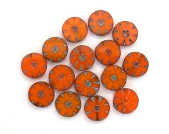 Burnt orange opaline w/ picasso 12mm carved discs. Set of 8 , 15 or 30.