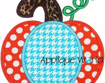 Halloween Chunky Pumpkin Applique Design-Instant Digital Download -Machine Applique Embroidery -Kid Applique Pattern. Halloween Applique.
