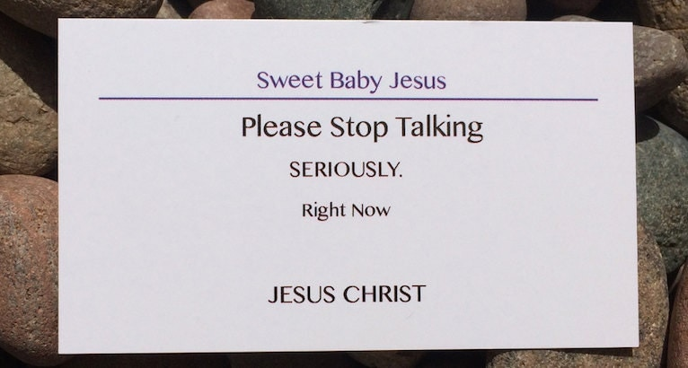 PLEASE STOP TALKING funny business cards on by