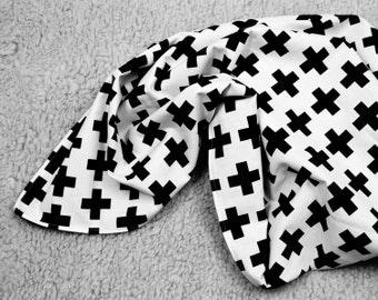 modern baby blanket – black/whitecross