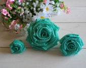 Burlap Roses, Burlap Flowers, Rustic Wedding Decoration, Boutonniere Flowers, Shabby Chic Wedding, Home Decor, Small, Medium or Large Roses