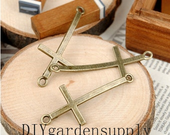 lead and nickel free---50pcs 22x52 mm antiqued bronze/silver Cross zinc alloy charms findings---2 loops