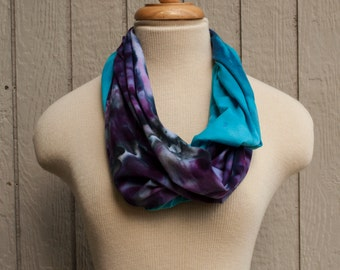 Jersey Cotton Scarf - Hand Dyed (Purple & Turquoise)