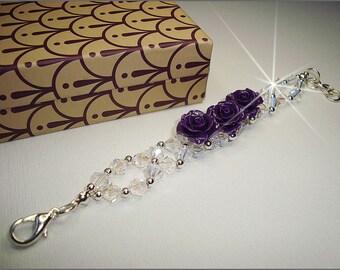 Bracelet, Swarovski crystals, tranparent, purple