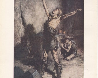 Arthur Rackham 1939 Vintage Art Print from the Siegfried scene of Richard Wagners Ring of the Niblung. Ideal for Decorative Wall Hanging.
