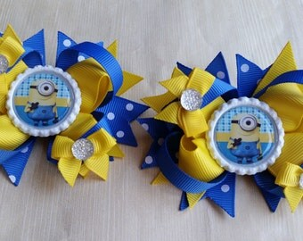 Minion hair bows! Set of 2 . Perfect for piggy tails :)