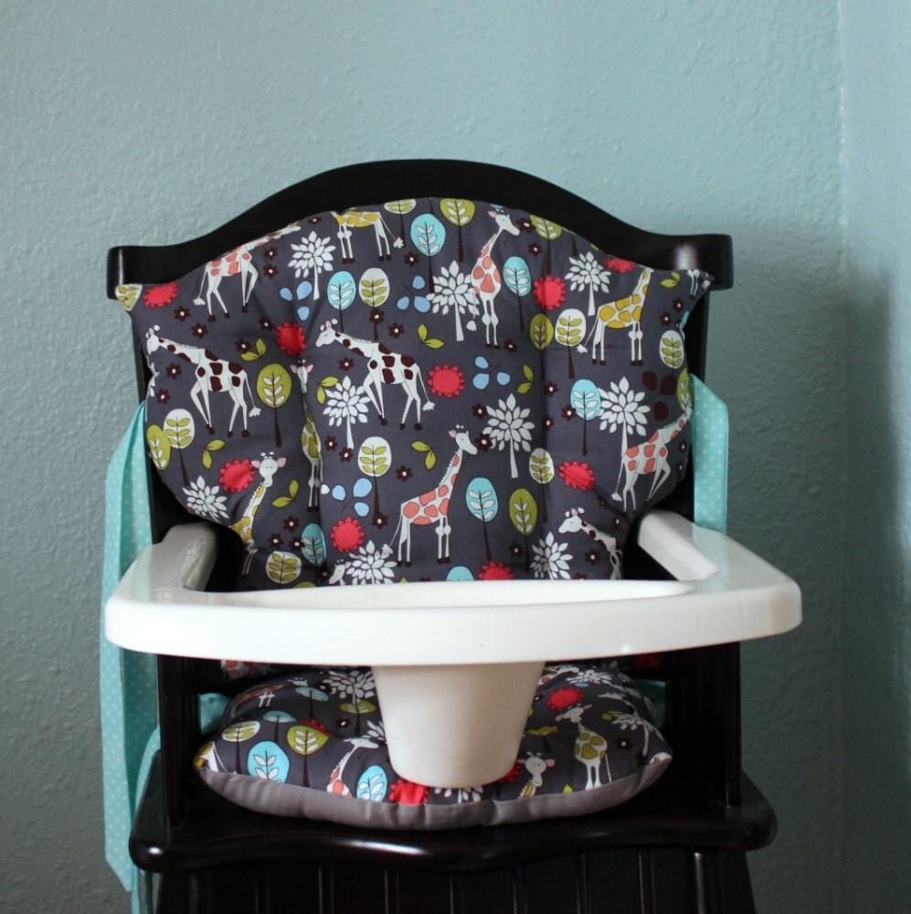Custom Eddie Bauer Giraffe Garden High Chair Cushions High