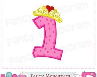 Princess Crown Number 1 applique,Birthday number 1 applique,My 1st birthday, Princess applique,Crown applique,Girl applique.