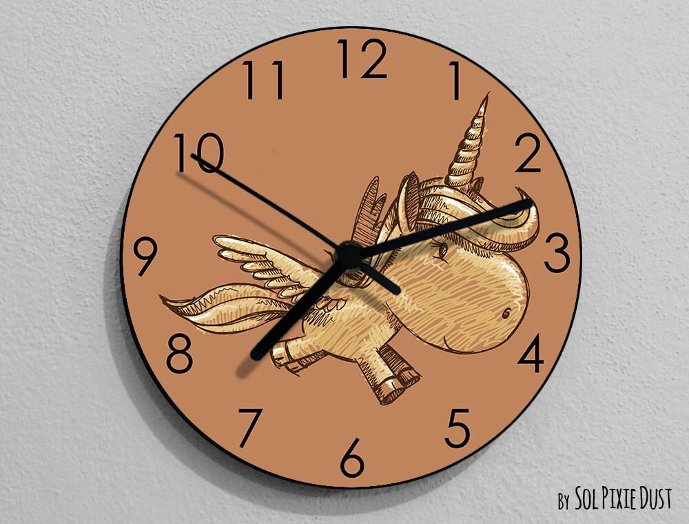 Unicorn hand draw wall clock kids nursery room teens room for Kids room clock