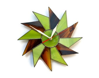 Starburst Wall Clock Minimalist Unusual Mid Century Modern Stained Glass Decor Art Hanging Unique Geometric Lime Green Brown Braun