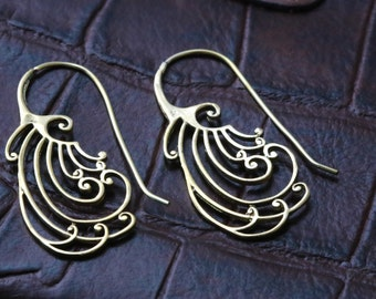 Tribal brass earrings, Spiral hoops, Spiral Earrings, Ethnic earrings; Gypsy earrings, Tribal Earrings