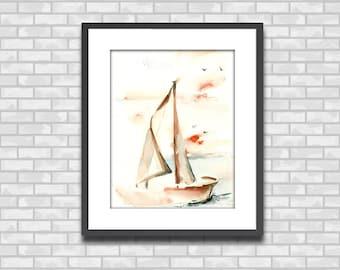 Sailboat Watercolor Print, Nautical Minimalist Watercolor Painting Art Print