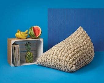 Milky white pouf ottoman. Knitted pouf. Accent chair. Pouf cover. Loft decor