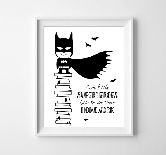 Batman kids illustration boys decor black amp white wall art