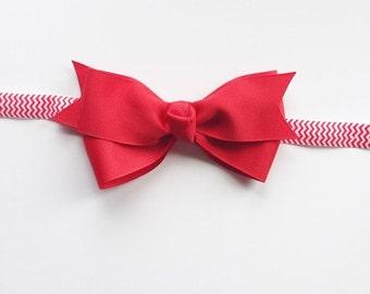 "4"" Red Hairbow on Red Chevron Interchangeable Headband. FOE Headband. Interchangeable Headband with Hair Bow. FOE Elastic Headband."