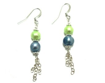 Blue and Green Pearl Dangle earrings