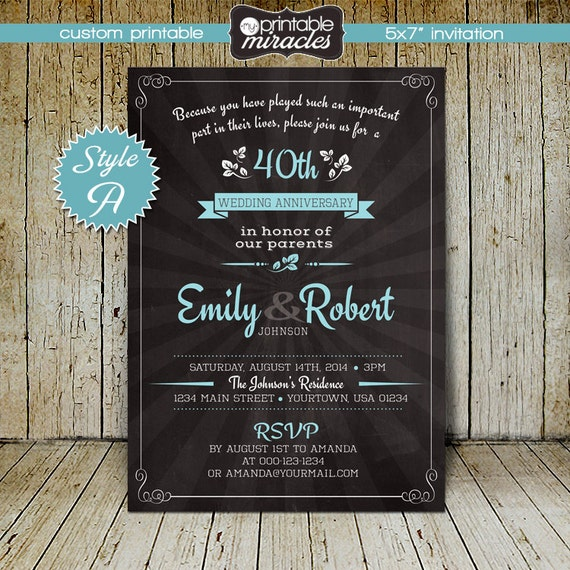 Chalkboard Engagement Party Invitation Printable By: Chalkboard Wedding Anniversary Invitations / Printable