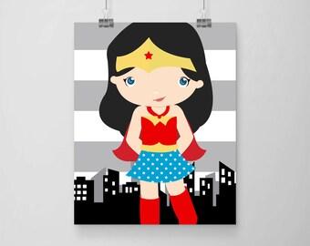 superhero girl wall art print, digital file, instant download at purchase, superhero wondergirl, superhero girls room wall print 8x10 inch