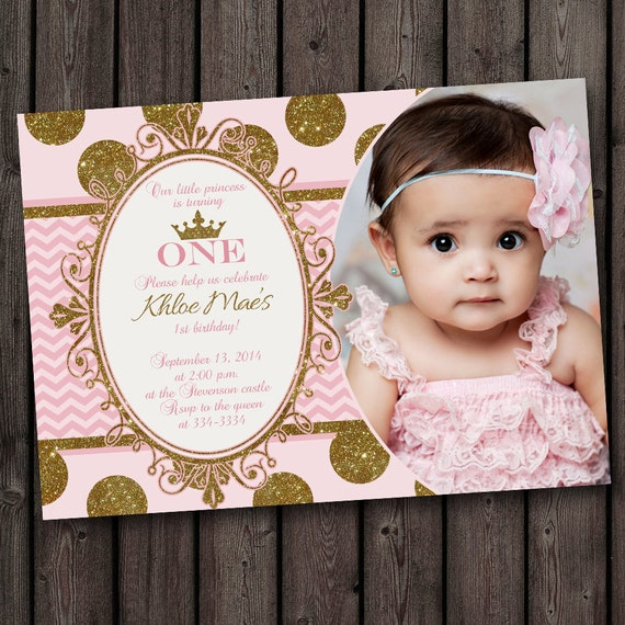 1 Year Baby Birthday Invitation Quotes: First Birthday Pink And Gold Invitation Princess Invitation