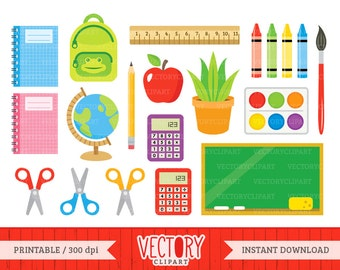 20 Back to School Clipart, School Clip Art, School Images for Teachers, School Supplies Clipart, Kids Clipart, School Clipart Set by Vectory