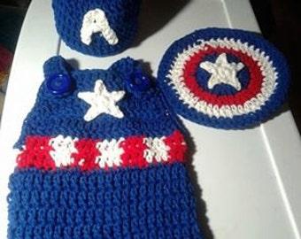 Crochet Captain America baby costume