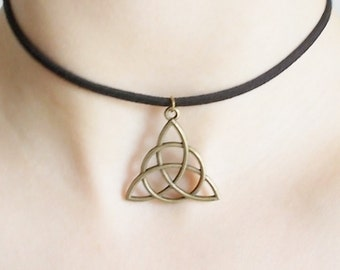 bronze triquetra choker triquetra necklace short necklace adjustable choker for women