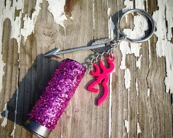 Pink 12Ga browning & arrow keychain
