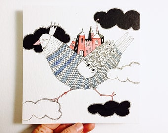 Red castel - original illustration square 20 cm