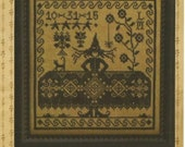 "LA~D~DA: ""Which Witch?"" - Primitive Halloween Cross Stitch Sampler - Cross Stitch Pattern, Leaflet, Chart by Designer Lori Markovic"