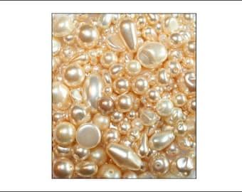 Warm Cream Czech Glass Pearl Mix, 50g, jewellery making, cream glass pearls, bead mix, glass pearls, Czech pearls, Czech glass, weddings