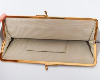 Vintage grey leather imitation clutch bag, wallet, metal frame (CI781)