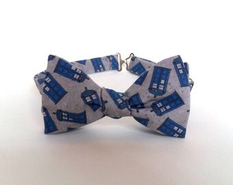 Doctor Who Bow Tie Gray Police Box Tardis Self Tie Bowtie Dr Who Whovian Sci Fi Matt Smith Boys Bowtie Mens Accessory Extra Long Adjustable