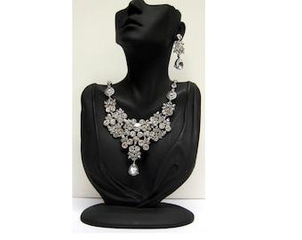 Vintage jewel inspired statement bib front collar necklace earring set