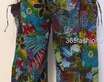 Plus size boho floral swirls patchwork harem pants trousers blue multi