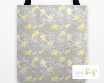 Grey and Yellow Leaves Tote Bag
