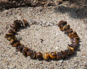 Chunky Tigers eye chip bracelet with Tigers eye orb Focal point
