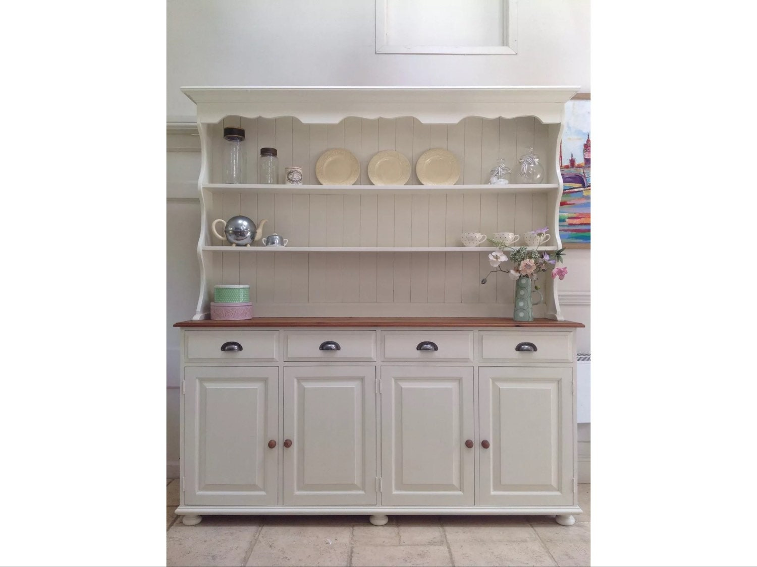 Large 6ft Painted Cream Solid Pine Welsh Dresser Kitchen