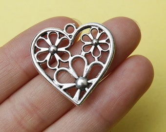 Heart Charms 28mm Heart Flower Charms Pendants